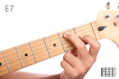 E dominant seventh guitar chord tutorial Stock Photos