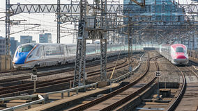 E7 and E6 Series bullet(High-speed or Shinkansen) trains. Stock Image