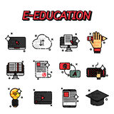E-education flat icons set Royalty Free Stock Photo