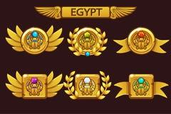 E Egipcjanin nagrody z skarabeuszu symbolem Dla gry, interfejs użytkownika, sztandar royalty ilustracja