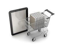 E-Einkaufen - Buchhandlung, Konzeptillustration Stockbilder
