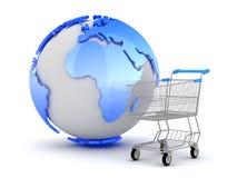 E-Einkaufen - Erdekugel und -Einkaufswagen Stockbild