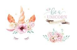 E Ejemplo de los unicornios del cuarto de niños r trendy ilustración del vector