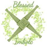 E El comenzar del d?a de fiesta pagano de la primavera Brigid Cross en una guirnalda de hojas verdes stock de ilustración