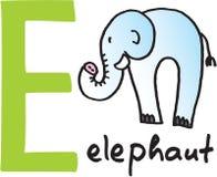 e-elefantbokstav stock illustrationer