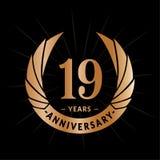 E Elegancki rocznicowy logo projekt Dziewiętnaście rok logo ilustracji