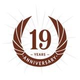 E Elegancki rocznicowy logo projekt Dziewiętnaście rok logo ilustracja wektor