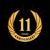 E Elegancki rocznicowy logo projekt Jedenaście rok logo royalty ilustracja