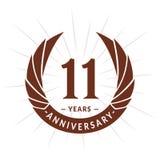 E Elegancki rocznicowy logo projekt Jedenaście rok logo ilustracji