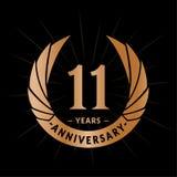 E Elegancki rocznicowy logo projekt Jedenaście rok logo ilustracja wektor