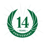 E Eleganter Jahrestagslogoentwurf Vierzehn Jahre Logo stock abbildung