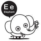 E Elephant cartoon and alphabet for children to learning and col. Oring page vector illustration eps10 Royalty Free Stock Photography