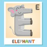 E is for Elephant. Letter E. Elephant, cute illustration. Animal alphabet. E is for Elephant. Letter E. Elephant, cute funny illustration. Animal alphabet Royalty Free Stock Photo