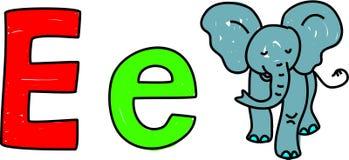 E est pour l'éléphant illustration de vecteur
