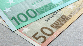 50 e 100 euro banconote Immagine Stock Libera da Diritti