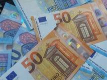 50 e 20 euro- notas, União Europeia Fotografia de Stock Royalty Free