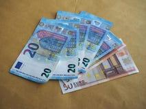 50 e 20 euro- notas, União Europeia Foto de Stock Royalty Free
