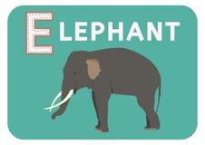 E für Elefantalphabet-Karikaturtier für Kinder Lizenzfreie Stockfotografie