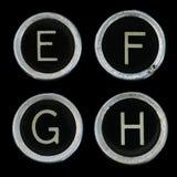 E-F g h锁上老打字机 免版税库存照片