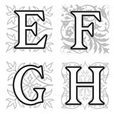 E, F, G, H alphabet letters with floral elements Royalty Free Stock Photos