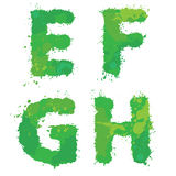 E, F, G, H, Handdrawn english alphabet - letters are made of gre Stock Photography