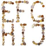 E-F-G-H-I-J Alphabetbuchstaben von den Münzen Stockfotografie