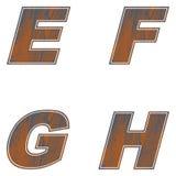 E, F, G, H Letters of brown color. Design of old wood. Vector. Illustration stock illustration