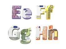 E; f; g; h letters. Are made of European banknotes Stock Illustration