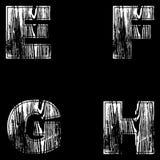 E, F, G, H Letters White on a black background. Wood Design. Vector. Illustration royalty free illustration