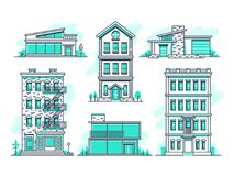 E Fastighetöversiktssymboler royaltyfri illustrationer