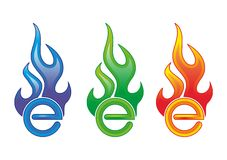 E on fire. Blue, green and red E symbol on fire Stock Images