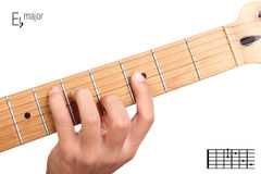 E flat major guitar chord tutorial Royalty Free Stock Photography