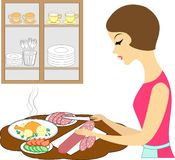 E Flickan förbereder ett läckert mål Lyxfnasket klipper produkterna: korv tomater, gurkor stock illustrationer