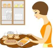 E Flickan förbereder kaffe eller te att täcka tabellen Lyxfnasket klipper en söt läcker paj royaltyfri illustrationer