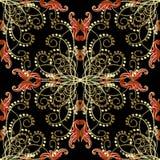 E Fondo ornamentale strutturato di arabesque Scintilli dell'oro r illustrazione di stock