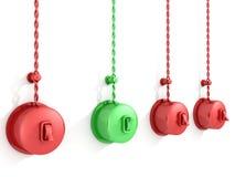 E fora do interruptor vermelho e verde no branco Foto de Stock Royalty Free