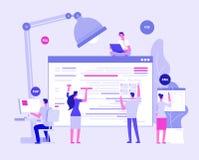 E Formgivare och programers skapar den företags platsen Website som kodifierar vektorbegrepp vektor illustrationer