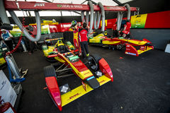 E Formula Race cars in garage Royalty Free Stock Images