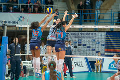 E. Gamova (Dynamo (KZN) 11. MOSCOW, RUSSIA - DECEMBER 2: E. Gamova (Dynamo (KZN) 11, while playing on women's Rissian volleyball Championship game Dynamo (MSC) Royalty Free Stock Images