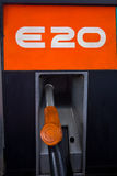 E20 Gas pump nozzle. E20 Gas pump nozzle at gas station Stock Photography