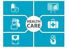 E-Gesundheitssorgfalthintergrund mit Symbolen von modernen Geräten mögen intelligentes Telefon, Tablette, digitales Krankenblatt vektor abbildung