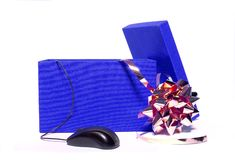 E-gift. Blue gift box, with a mouse on white Royalty Free Stock Image