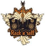 E-Gitarre, Flügel, Sprecher und Rock-and-Roll Lizenzfreies Stockbild