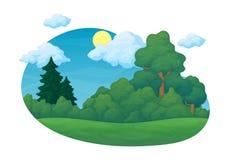 E Grüne Wiese mit Kiefer und Tannenbäume und Büsche Blauer Himmel mit Wolken im Hintergrund stock abbildung