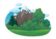 E Grüne Wiese mit Kiefer und Tannenbäume und Büsche Schnee bedeckte Berge, blauen Himmel mit Wolken stock abbildung