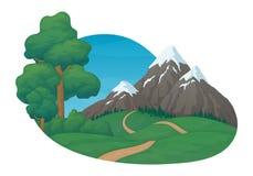 E Grüne Wiesen und Hügel, Schotterweg, Kiefer und Büsche Schnee bedeckte Berge, gezierten Wald lizenzfreie abbildung