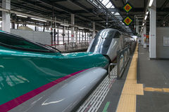 The E5(Green)/E3(White) High-speed trains combination. Royalty Free Stock Images
