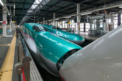 The E5(Green)/E3(White) High-speed trains combination. Stock Photo