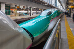 The E5(Green)/E3(White) High-speed trains combination. Stock Photography
