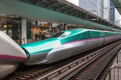 The E5(Green)/E3(White) High-speed trains combination. Royalty Free Stock Photos